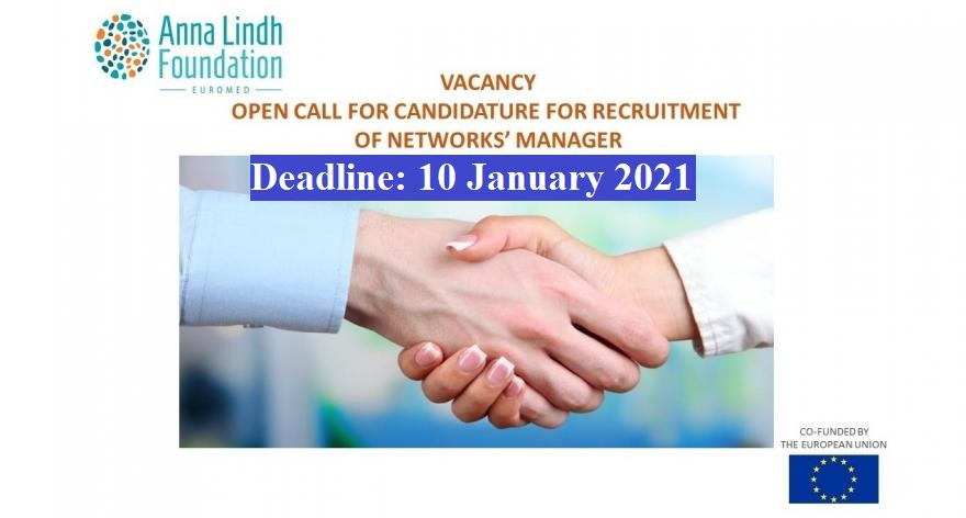 Vacancy Open Call for Candidature for Recruitment/ Anna Lindh Foundation/ #Alexandria ( #Egypt)