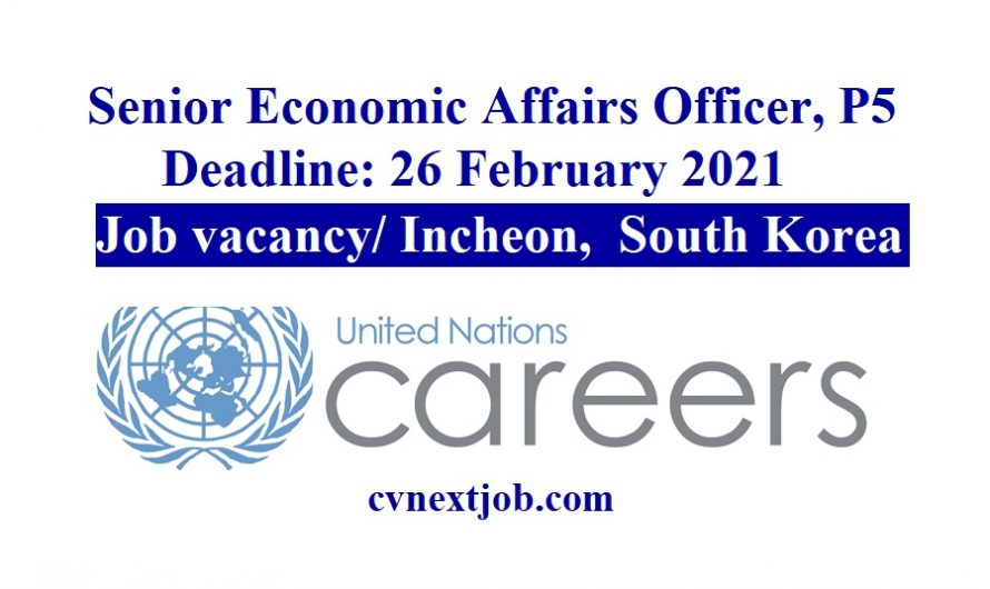 Job vacancy/ Senior Economic Affairs Officer, P5 at UN Department of Economic and Social Affairs ( #Incheon/ #SouthKorea )