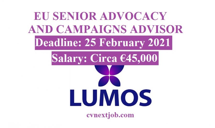 Job vacancy/ #EU SENIOR ADVOCACY AND CAMPAIGNS ADVISOR at Lumos