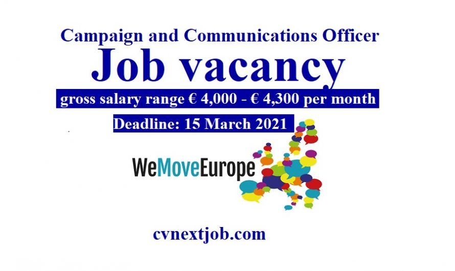 Job vacancy/ Campaign and Communications Officer at WeMove Europe ( #Brussels, #Belgium)