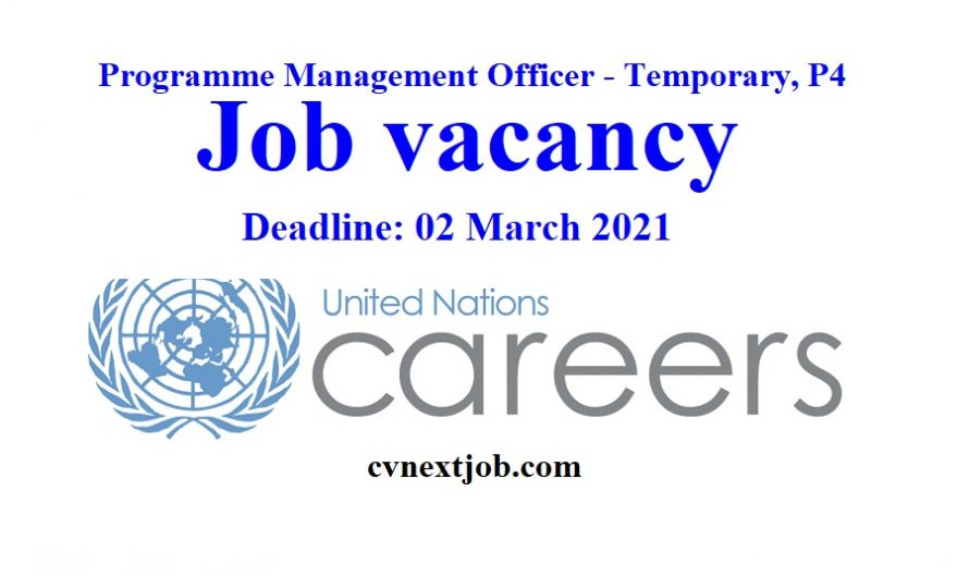 Job vacancy/ Programme Management Officer – Temporary, P4 at #UnitedNations Office on Drugs and Crime ( #Vienna, #Austria)