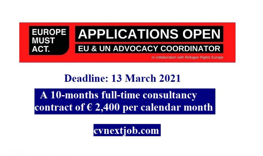 Call for Applications: #EU and #UN Advocacy Coordinator at Europe Must Act (#Brussels, #Belgium)