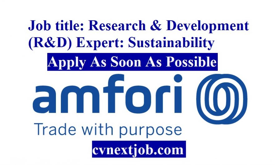 Job title: Research & Development (R&D) Expert: Sustainability at amfori ( #Brussels, #Belgium)