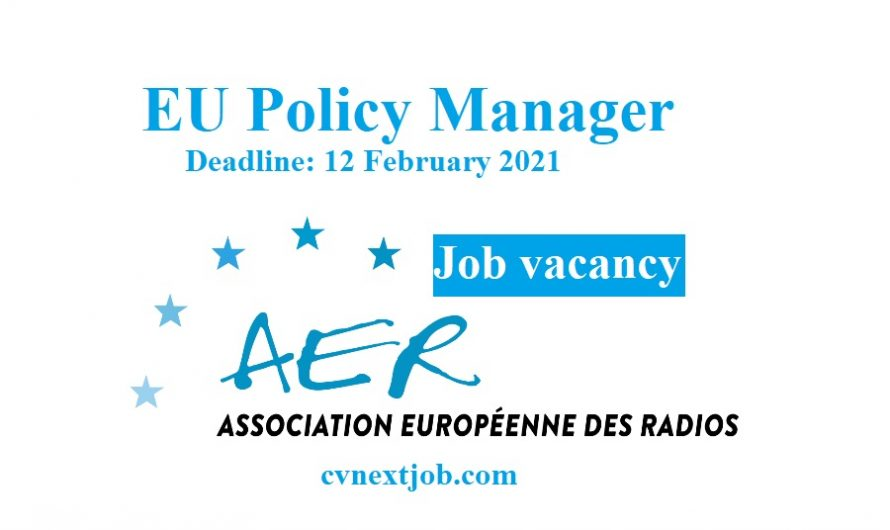 Job vacancy/ EU Policy Manager at Association of European Radios ( #Brussels, #Belgium)