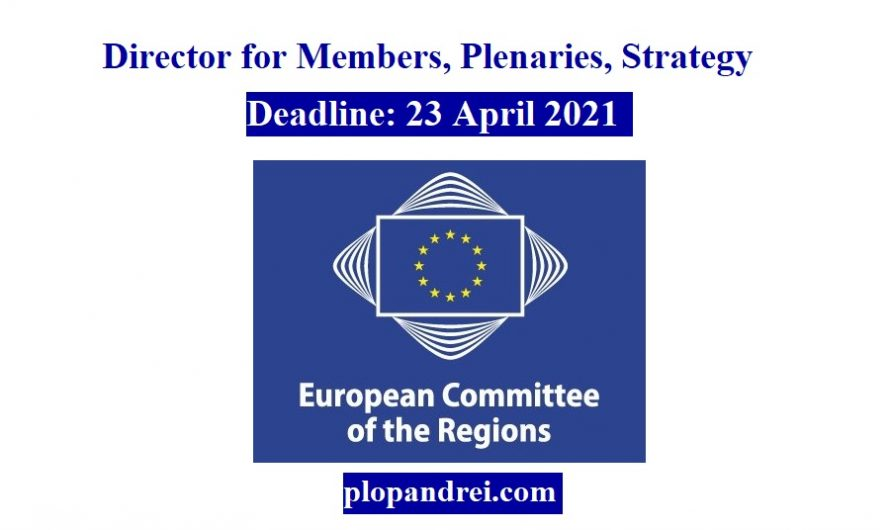 Job vacancy/ Director for Members, Plenaries, Strategy at European Committee of the Regions ( #Brussels, #Belgium)