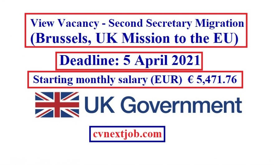 View Vacancy – Second Secretary Migration (#Brussels, #UK Mission to the #EU) (Maternity Cover)(BEL21.071)